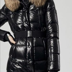 SAM long glossy black puffer coat
